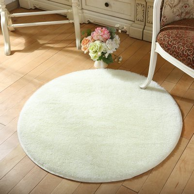 - NK 16'' Round Rugs Circular Bedroom Fluffy Rugs Anti-Skid Shaggy Area Office Sitting Drawing Room Gateway Door Carpet Pink Blue Grey