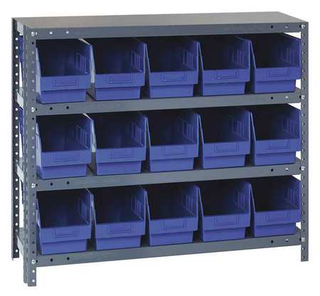 QUANTUM STORAGE SYSTEMS 1839-804BL Bin Shelving,Solid,36X18,15 Bins,Blue