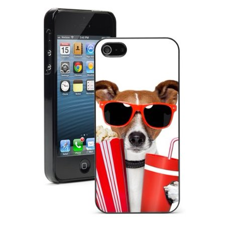 Cute Popcorn (For Apple iPhone SE Hard Back Case Cover Color Cute Jack Russell Terrier Sunglasses With Popcorn)