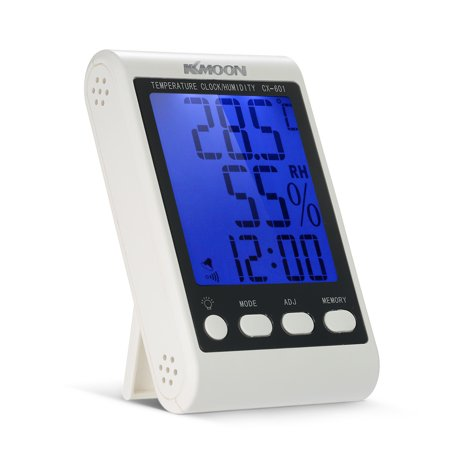 KKmoon LCD ℃ / ℉ Digital Thermometer Hygrometer Temperature Humidity Meter Alarm Clock with Blue Backlight ()