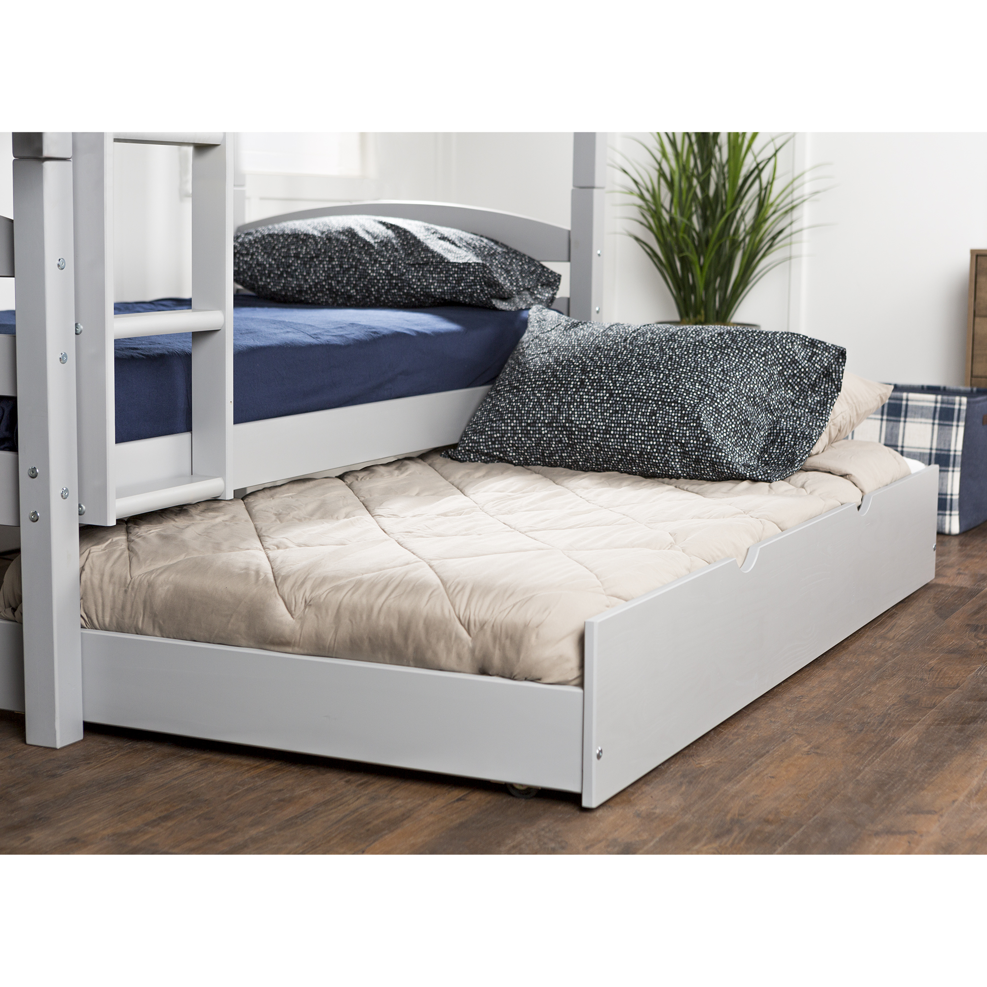 Solid Wood Twin Trundle Bed - Grey (Multiple Colors Available)