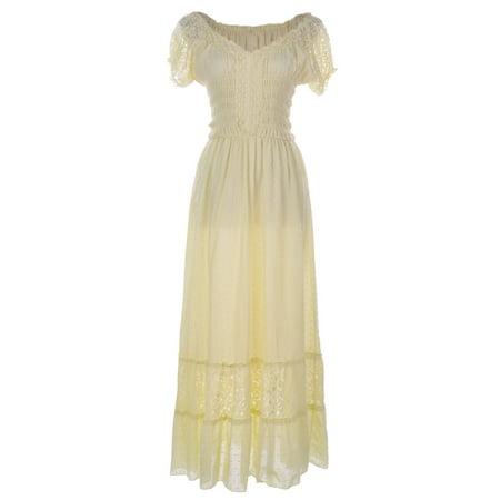 Anna-Kaci Antique Beige Large Size Smocked Waist Summer Maxi Dress Cap Sleeve...