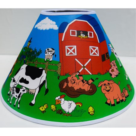 Farm Animal Lamp Shade / Barn Animals Nursery Decor Complete Farm Theme with Barnyard, Cows, Horses, Pigs, Chickens, Ducks, and Tractor