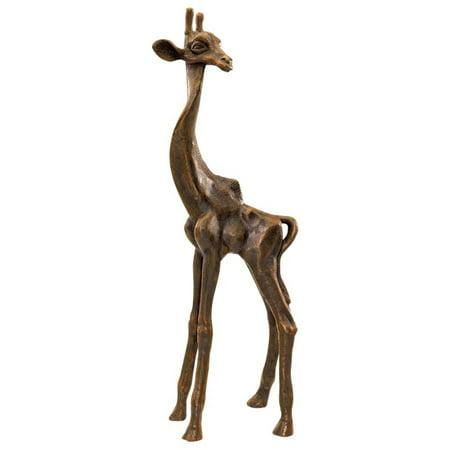 "16"" 19th-century Antique Replica Cast Iron African Wildlife Giraffe Sculpture..."