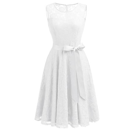Bagail Women Midi Lace Dress Vintage Style Floral Dress Short Bridesmaid Dress Cocktail Dress Homecoming Dress