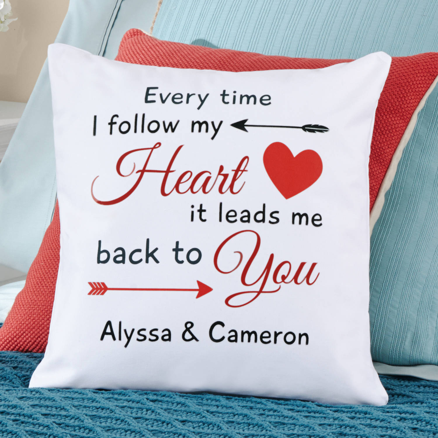 Personalized Follow My Heart Throw Pillow, Available in 2 Colors