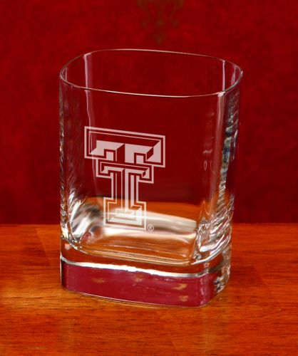 NCAA - Texas Tech Red Raiders 11.75 oz Deep Etched Square Double Old Fashion Glass
