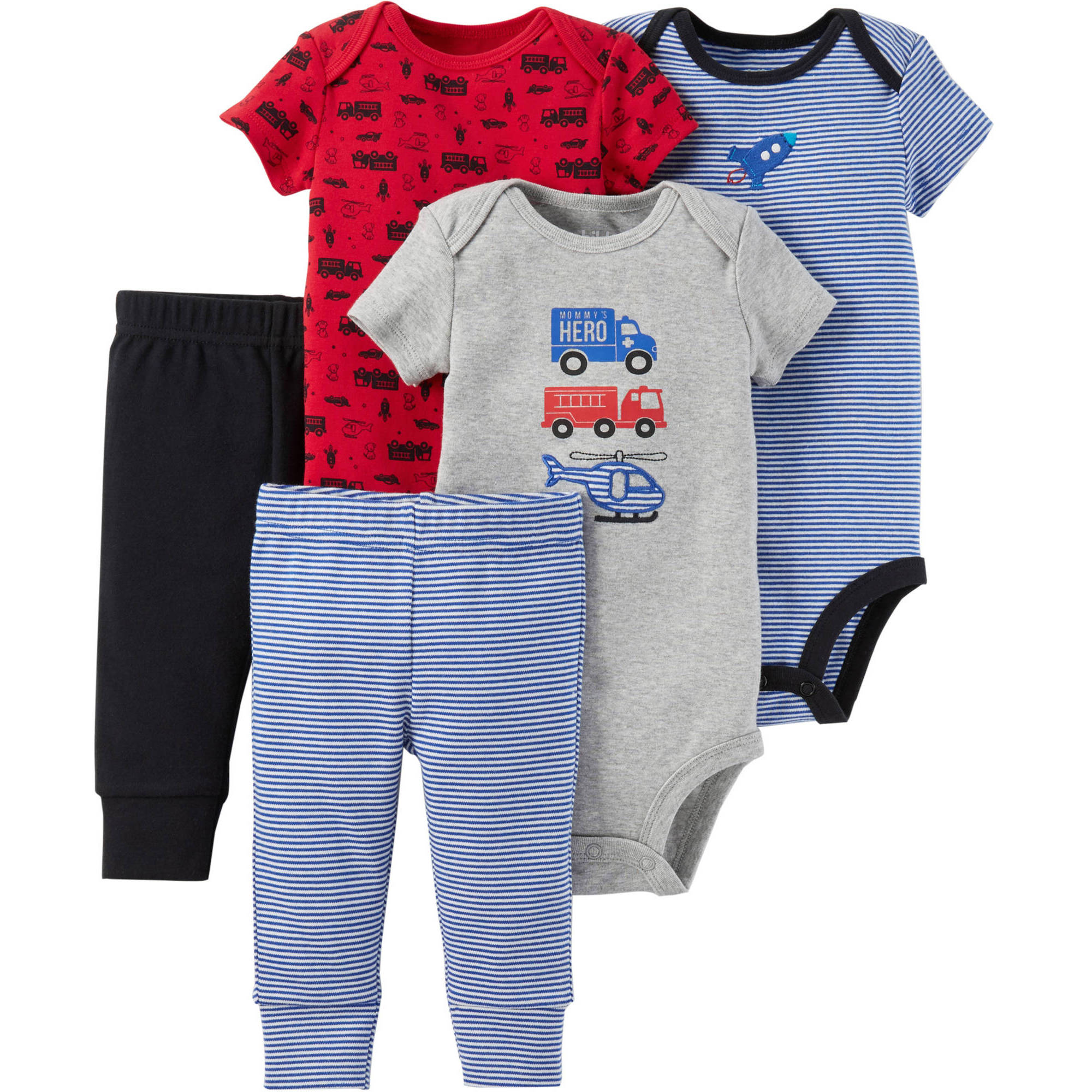 Child of Mine by Carter's Newborn Baby Boy Bodysuit and Pantset-5 Pieces