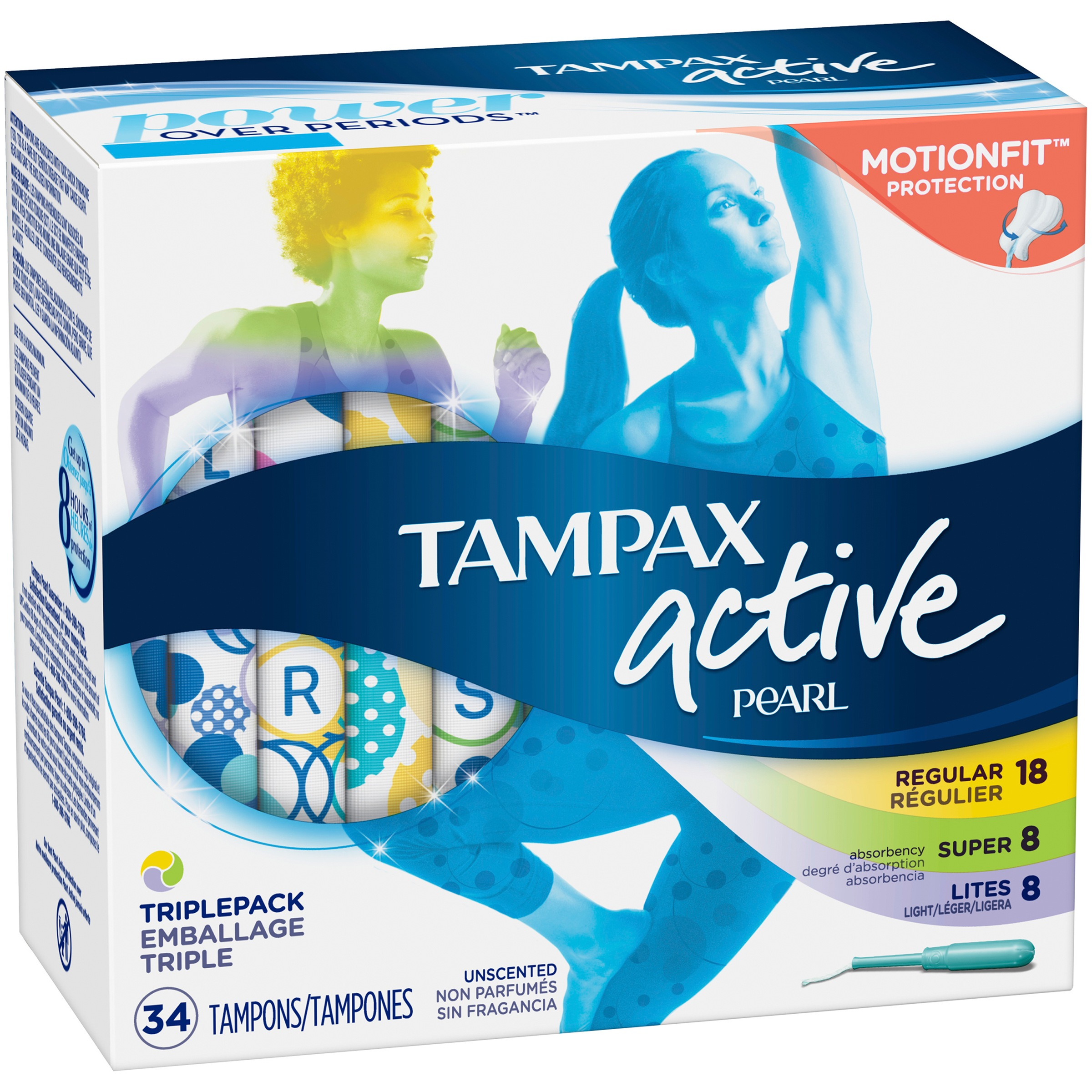 Tampax Pearl Active Plastic Tampons, Triple-Pack, Light/Regular/Super Absorbency, Unscented, 34 Count