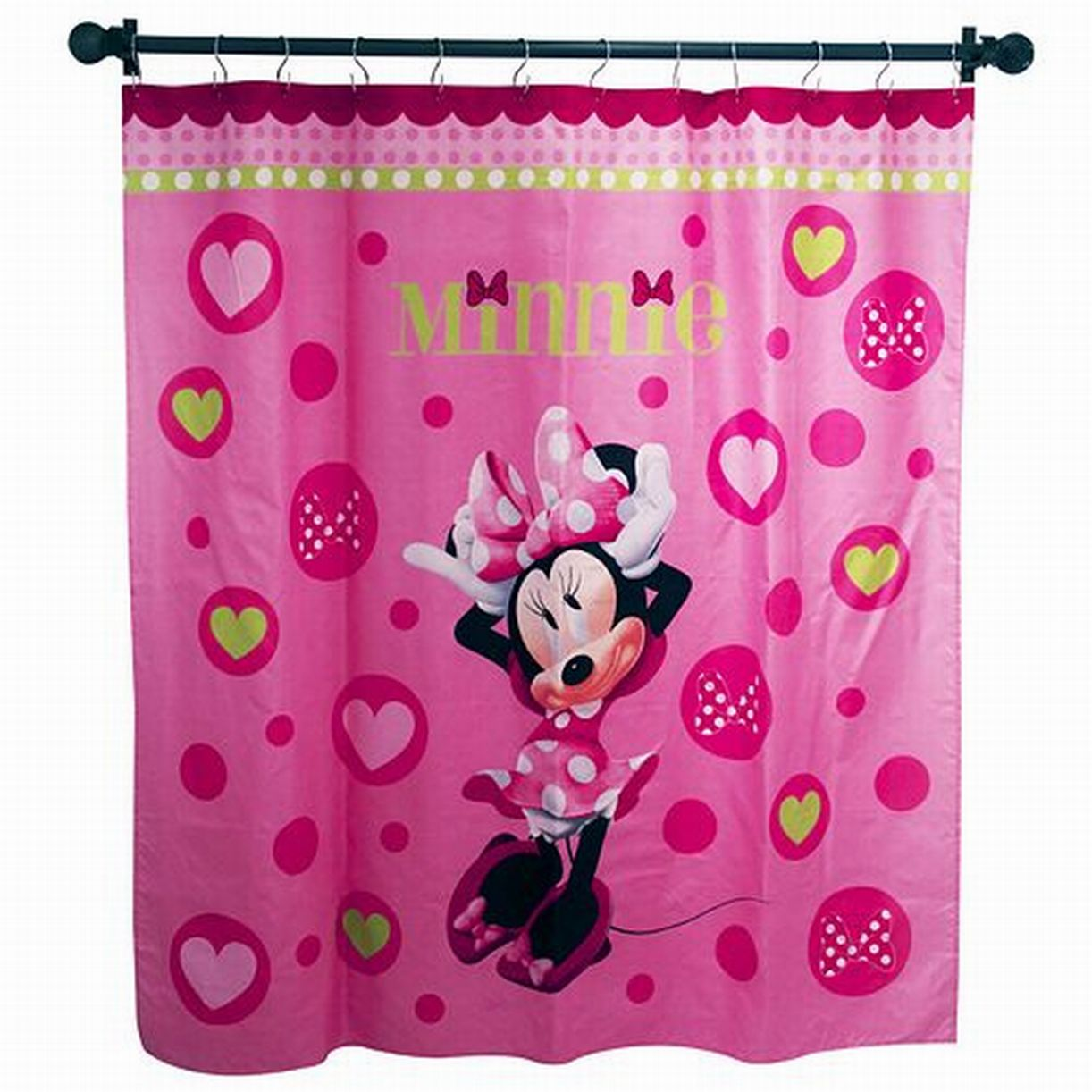 Disney Minnie Mouse Pink Hearts Microfiber Shower Curtain Kids Bath