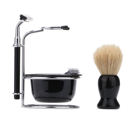 4 In 1 Men's Manual Razor Set Beard Razor Male Facial Cleaning Tool Shaving Brush Bowl Stainess Steel Stand Holder 5 Blades Wet Shaving ()