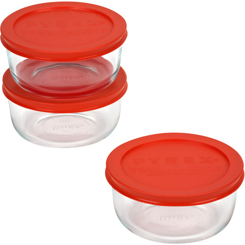 Pyrex Storage Plus 6-piece Value Pack, 3 each - 2 cup round with red plastic covers
