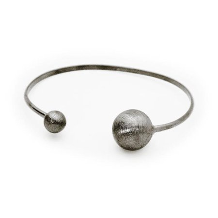 Fronay 406158B Black Satin Globes Cuff Bangle in Sterling Sterling - image 1 de 1