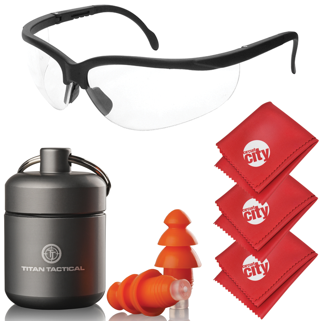 Titan Tactical Eyes + Ear Protection Kit w/ 29NRR Reusable Shooting Ear Plugs + Mil-Spec Clear Range Ballistic Glasses (for Normal + Small Ear Canals)