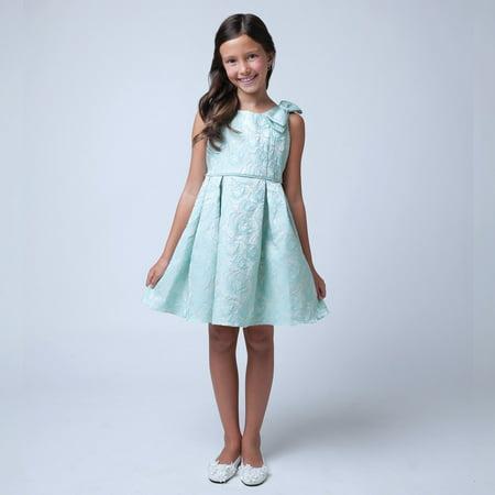 Sweet Kids Little Girls Sea foam Rose Bow Easter Special Occasion Dress 2-6