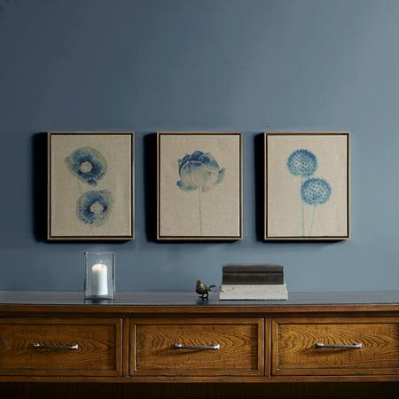 Home Essence Blue Print Botanicals Framed 3 Piece Printed Canvas On Linen