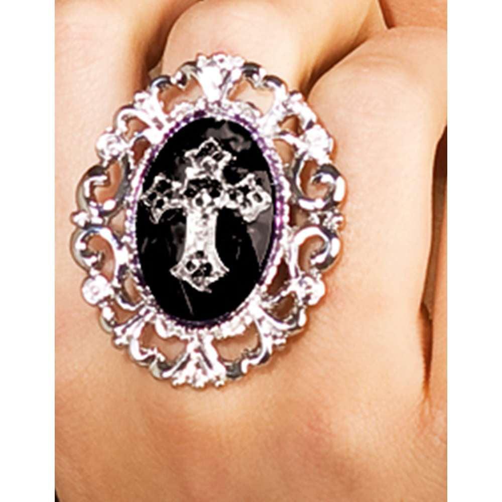 Elegant Silver and Black Metallic Gothic Cross Costume Accessory Ring