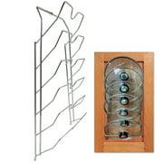 Evelots Pot Lid Storage-Cabinet Door/Wall-Organizer-6 Pot/Pan Covers-Chrome