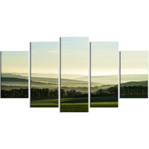 Design Art 'Superb Green Hills in the Fog' 5 Piece Photographic Print on Wrapped Canvas Set