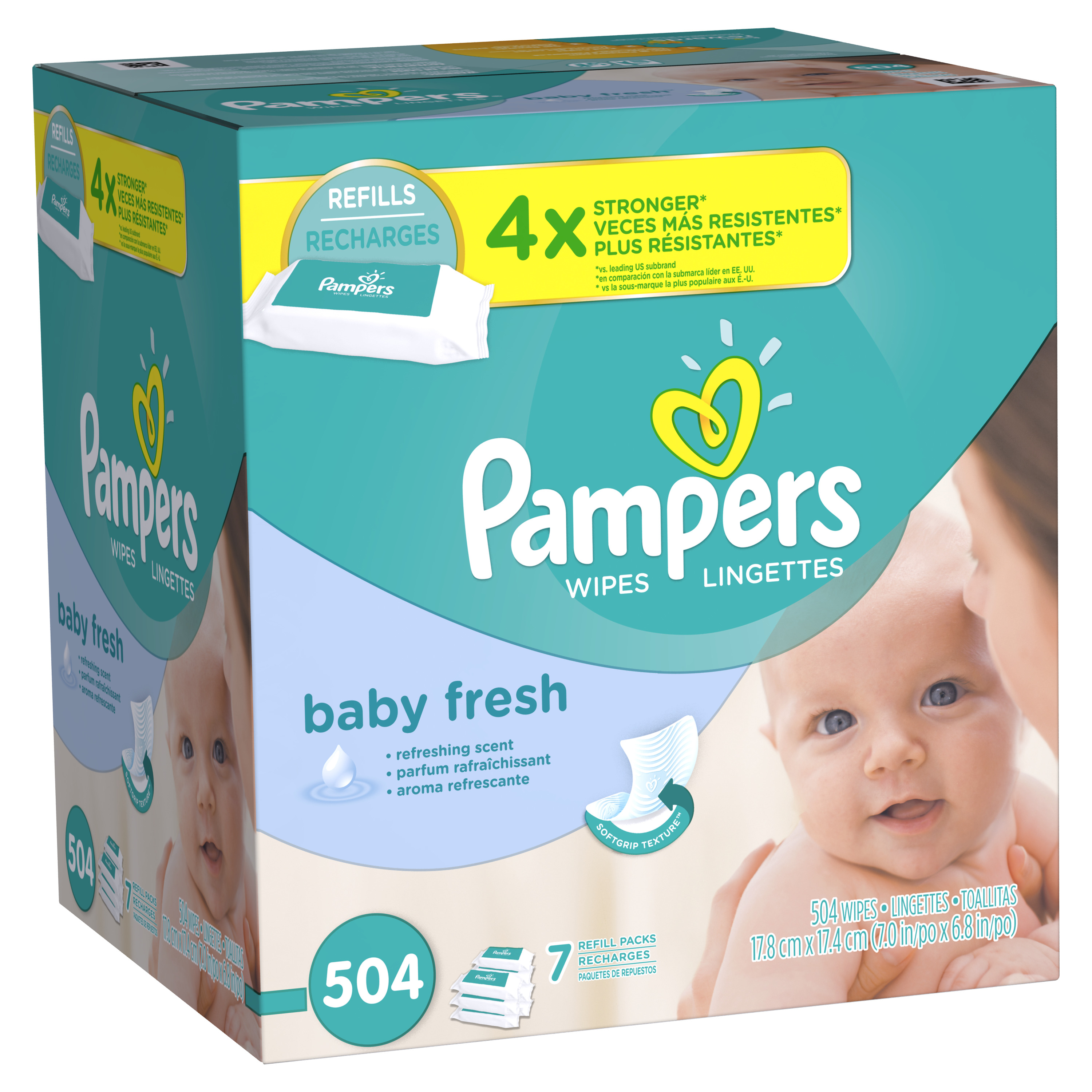 Pampers Baby Fresh Wipes, Scented, 7 refill packs of 72 (504 count)