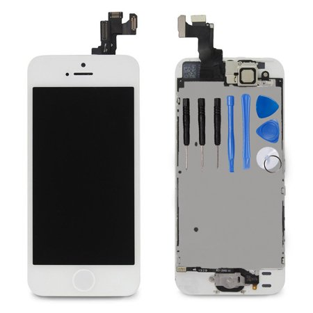 Ayake Full Display Assembly for iPhone 5s White LCD Screen Replacement with Front Facing Camera, Speaker and Home Button Pre-Assembled (All Required Tools Included) Outer Front Lcd