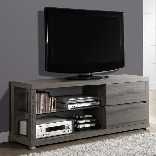 "Monarch Tv Stand Dark Taupe With Tempered Glass For TVs Up To 60""L"