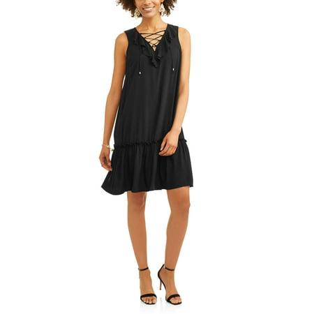 Women's Lace Up Ruffle Dress - Cute Ways To Dress Up