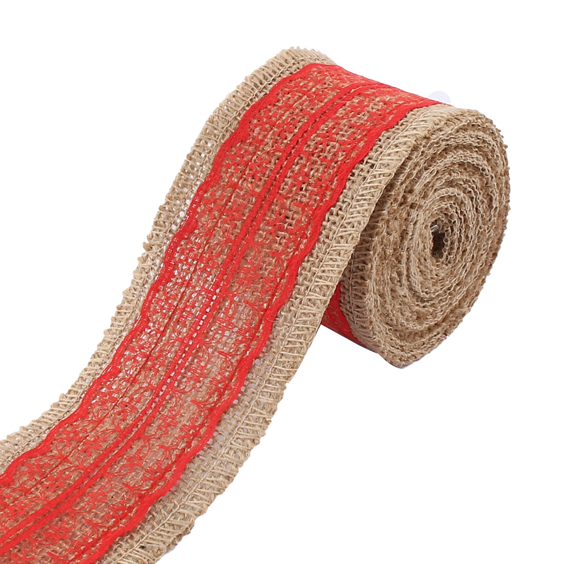 Unique Bargains Christmas Burlap DIY Gift Wrapping Packing Ornament Craft Ribbon Roll Tape Red