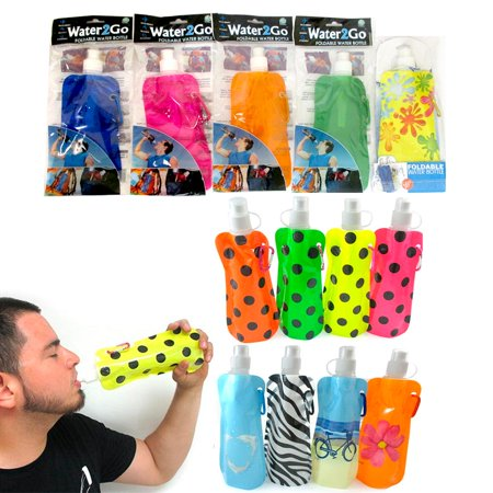 12 Pcs Multicolor Flexible Collapsible Foldable Reusable Water Bottles Ice Bag ! - Small Reusable Water Bottles