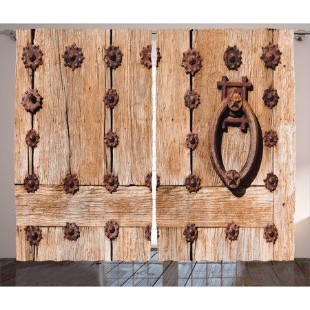 Halloween Cemetery Archway Entrance (Rustic Curtains 2 Panels Set, Spanish Entrance of Rusty Medieval Metal Handlers Archway Facade Historical Image, Window Drapes for Living Room Bedroom, 108W X 84L Inches, Light Brown, by)