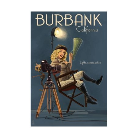 Burbank, California - Directing Pinup Girl Print Wall Art By Lantern Press - Halloween In Burbank California