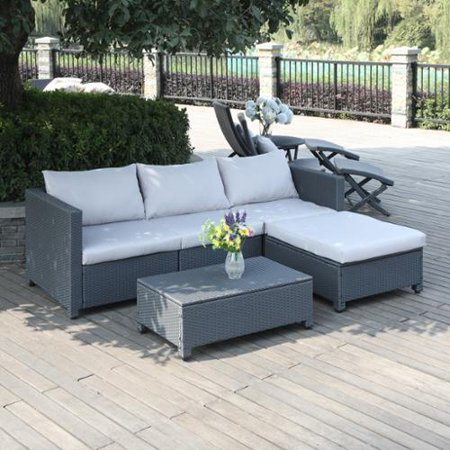 handy living aldrich grey 5 piece rattan indoor outdoor sectional and table with reversible. Black Bedroom Furniture Sets. Home Design Ideas