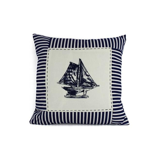 Handcrafted Decor Pillow 103 Blue Sloop Nautical Stripes Decorative Throw Pillow, 16 in. by Handcrafted Decor