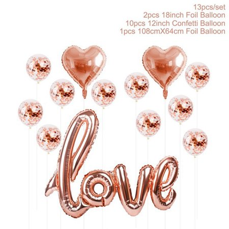 Latex Balloons Set,Justdolife Assorted Types LOVE Heart Round Shape Confetti Balloons Foil Balloons Birthday Wedding Party Supplies Decoration Favor (Rose Gold)