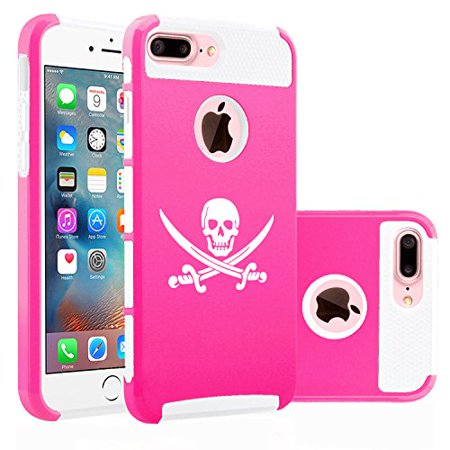 For Apple iPhone (7 Plus) Shockproof Impact Hard Soft Case Cover Jolly Roger Pirate (Hot Pink-White)