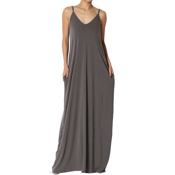 yellow and gray dress : TheMogan Women's PLUS V-Neck Draped Jersey Casual Beach Cami Long Maxi Dress W Pocket