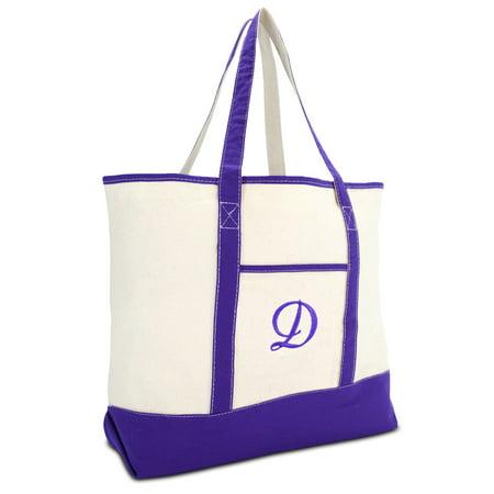 DALIX Women's Canvas Tote Bag Shoulder Bags Open Top Purple Monogram D