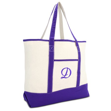 DALIX Women's Canvas Tote Bag Shoulder Bags Open Top Purple Monogram D