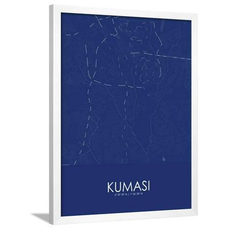 Kumasi, Ghana Blue Map Framed Poster Wall Art (Black And White Map)
