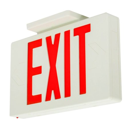Led Exit Sign (LFI Lights - Hardwired Red LED Exit Emergency Sign Light - Standard - Battery Backup - LEDRBB, Injection-molded, VO flame retardant, high impact housing By Light Fixture Industries)