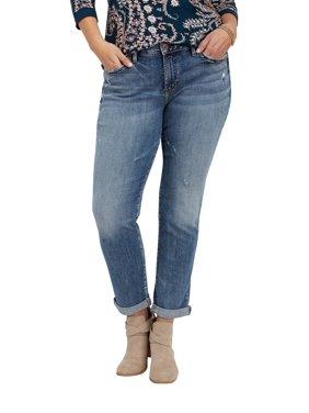 c65bd232b7d3a Product Image Plus Size Silver Jeans Co. Sam Medium Wash Boyfriend Jean