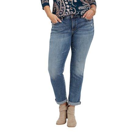 2a8c566bbb11a maurices - Plus Size Silver Jeans Co. Sam Medium Wash Boyfriend Jean -  Walmart.com