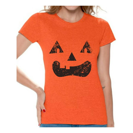 Awkward Styles Trick or Treat Face Tshirt for Women Halloween Shirt Pumpkin Face Women's Shirt Trick or Treat Outfit Halloween Party T Shirt Day of the Dead Shirts for Women Dia de los Muertos Gifts](Womens Halloween Shirts Target)