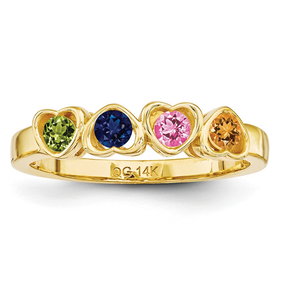 14k Yellow Gold Synthetic Family Jewelry Ring