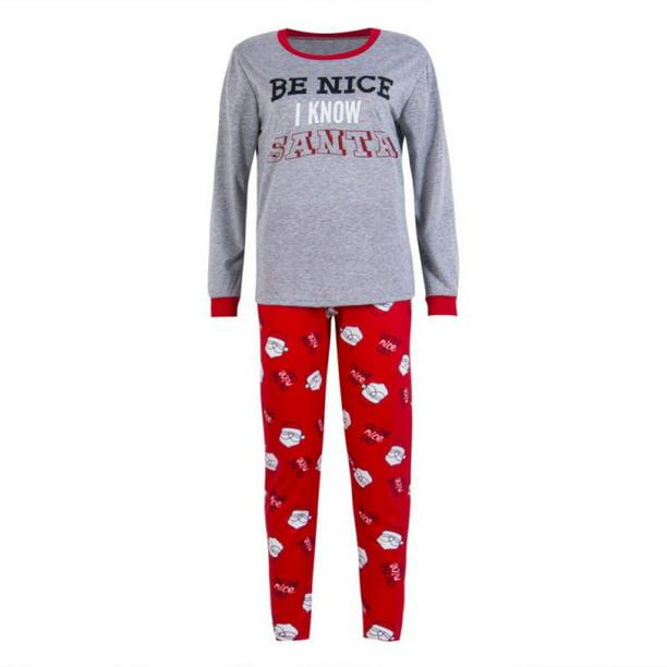 Grey, Boys-3-4 Years Family Christmas Pajamas Set Santa Long Sleeve Letter Printed Sleepwear Nightwear Parent Child Family Equipment Matching
