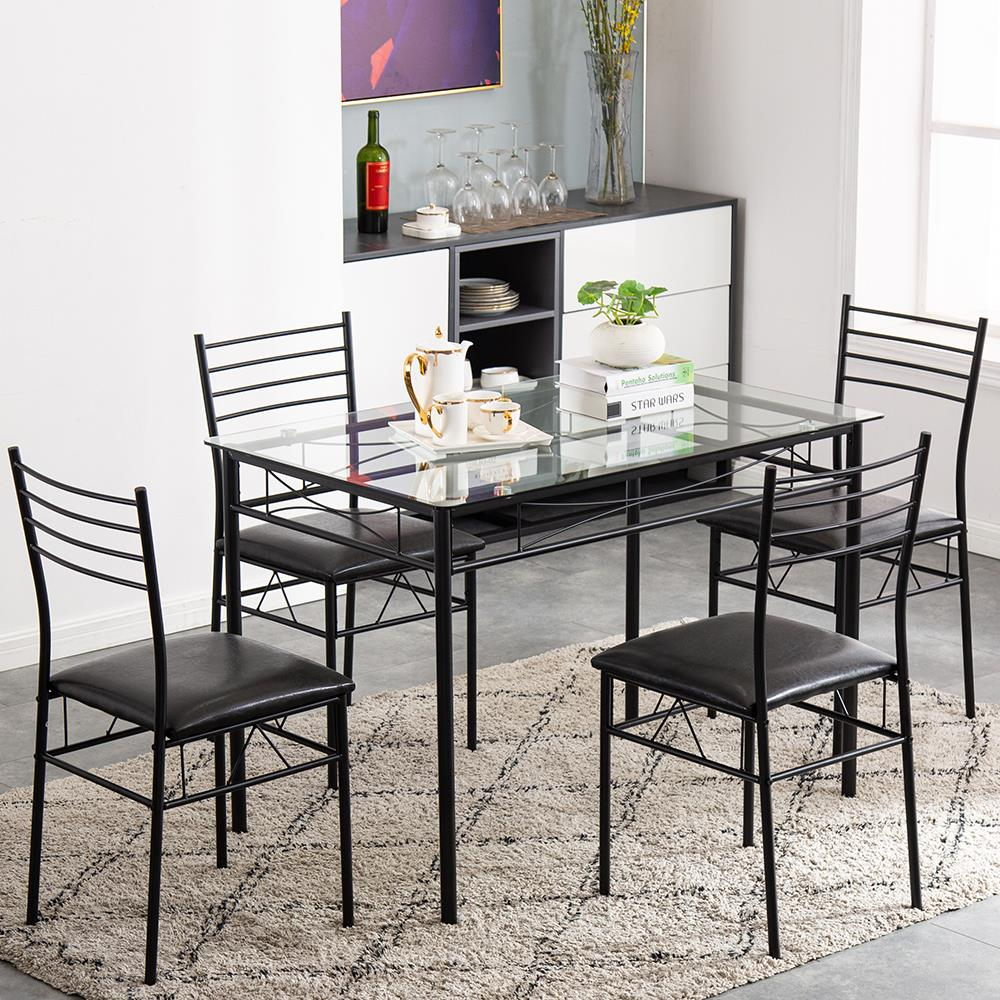 Zimtown 5 Pieces Dining Set Table With, Small Black Dining Table And 4 Chairs
