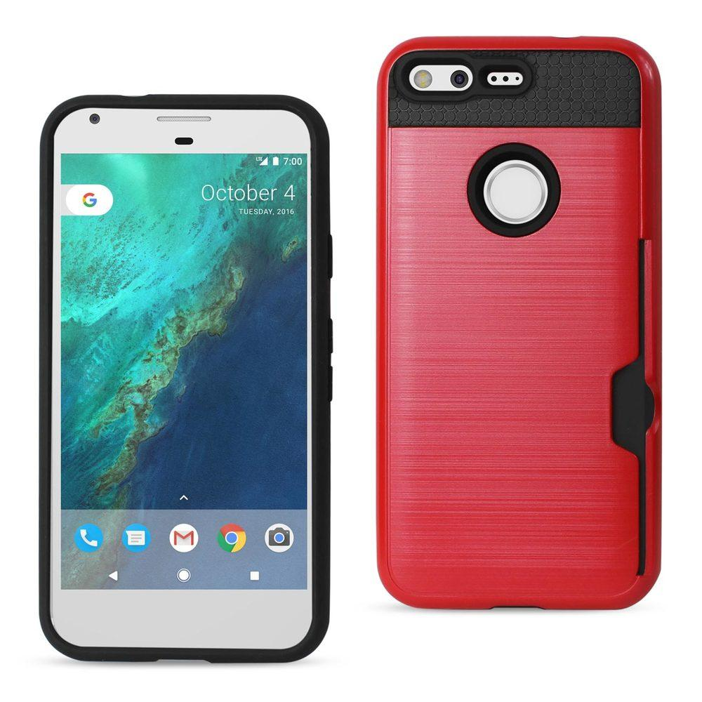 Reiko REIKO GOOGLE PIXEL SLIM ARMOR HYBRID CASE WITH CARD HOLDER IN RED
