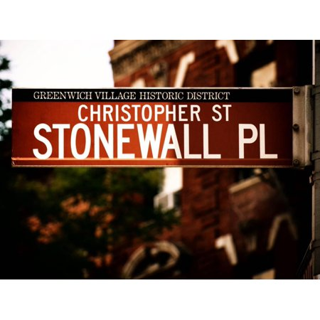 Urban Sign, Christopher Street and Stonewall Place, Greenwich Village District, Manhattan, New York Print Wall Art By Philippe Hugonnard
