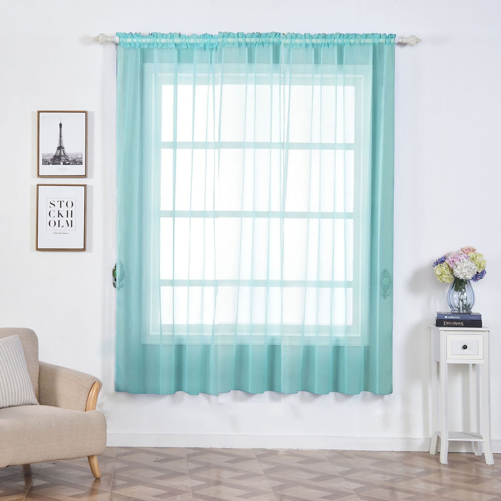 "Efavormart 2 Panels Sheer Organza Window Drapery with Rod Pocket Window Treatment Curtain Panels For Window Decoration 52""Wx84""L"
