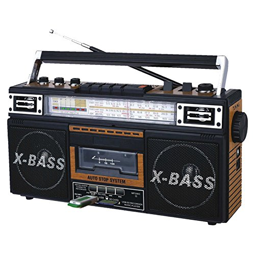 QFX AM/FM/SW1-SW2 4 Band Radio and Cassette to MP3 Converter, and Recorder with USB/SD/MP3 Player-Wood